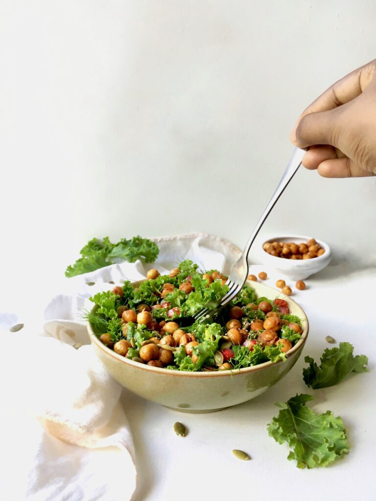Roasted Chickpea and Kale Saladwith Mango Dressing