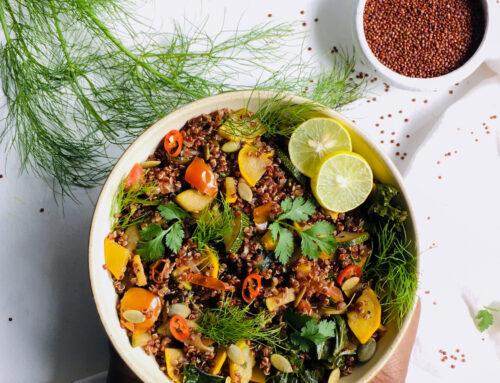 Quinoa with Sauteed Kale and Zucchini