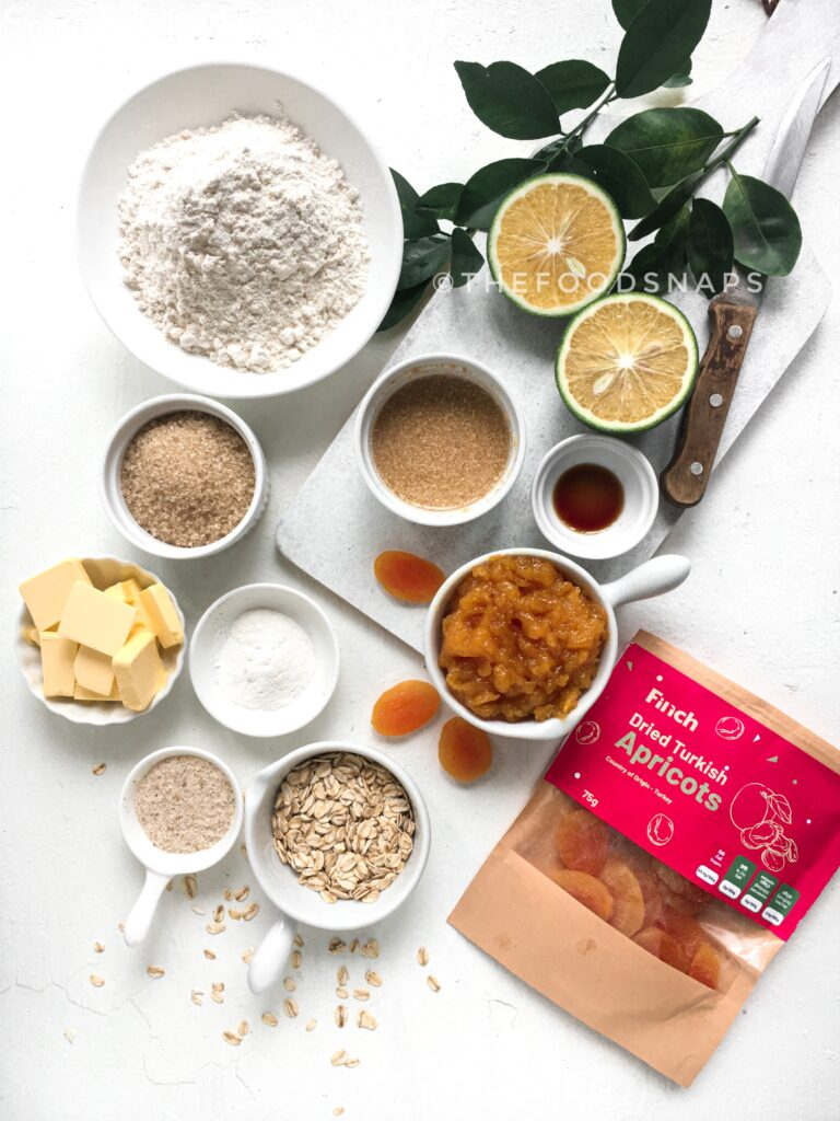 Ingredients for the Apricot Crumble Bars