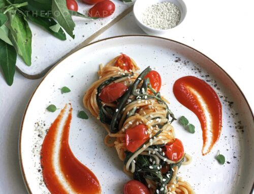 Spaghetti with Stir-fried Water Spinach (Kankung)