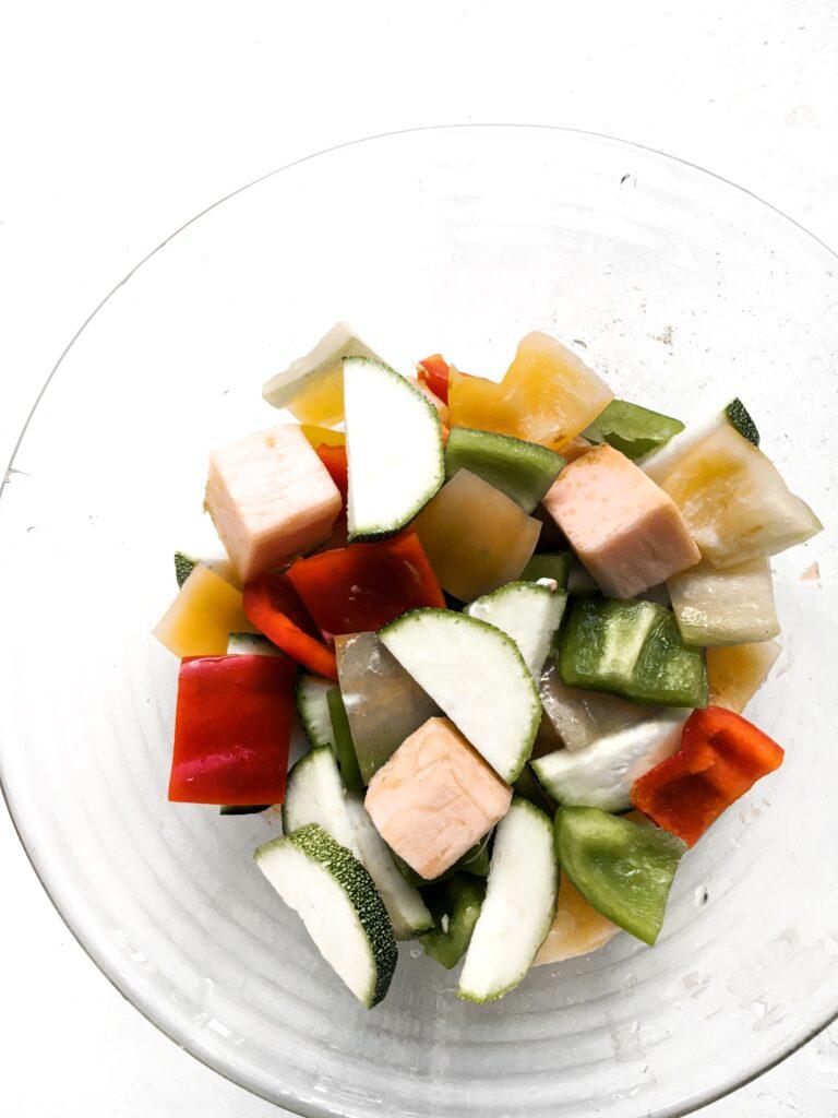 Vegetables prepared for grilling